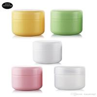 50pcs / lot 20g 50g 100g colorido Face Cream Jars pote de plástico viagem Esvaziar Cosmetic Containers Containers bonito amostra de cosmético