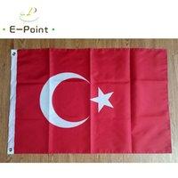 Turquía Bandera Nacional de Campo 3 * 5 pies (90cm * 150cm) Poliéster Banner Decoración volar la bandera de jardín de casa