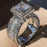 Choucong única joyería de lujo 925 Sterling Silvergold Fill Princess Cut Whie Topaz CZ Diamond Fiesta Eternity Women Band Band Ring Regalo