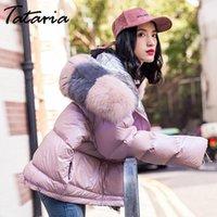 Women's Down & Parkas Tataria Women Winter Thicken Warm Fur Collar White Duck Jacket Female Loose Outerwear