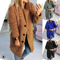 Fleece Womens Wool Blend Coat Solid Color Lapel Neck Loose W...