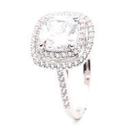 Bague de fiançailles diamant solitaire doré platinum plaqué or gisement amour dames