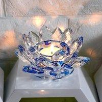 Подсвечники Handmade Crystal Lotus Цветок Цветочный Подсвечник Миниатюрный Ремесленный Стекло Держатель Домашний Декор Аксессуары Орнамент Подарок1