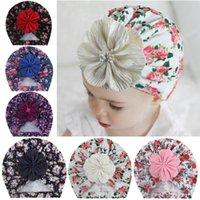 Новые младенческие дети складки цветок с жемчужными крышками детские малыши эластичные печати тюрбан шапки шапки новорожденные аксессуары подарки фото реквизиты