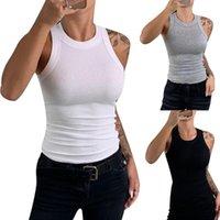 Tanques de mujer Camis 2021 Verano Mujer Tank Tops Sexy Color Sólido O-Cuello Camiseta para mujer Elasticidad sin mangas Suéter Casual Chicas Vest1