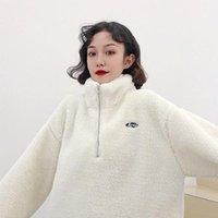 Açık CeketHodies Yarım Yüksek Yaka Kazak Polar Kalınlaşmış kadın Sonbahar Kış Spor Rüzgarlık Moda Kuzu Yün Ceket