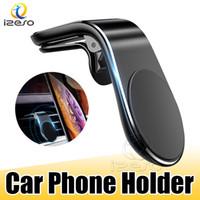 Téléphone de voiture magnétique Porte L Forme Air Vent Mount Support en téléphone mobile GPS de voiture Support pour iPhone 12 Samsung Smart Phone izeso
