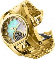 모델 28393 남성용 시계 기계식 석영 준비 볼트 제우스 남성 52mm 스테인레스 스틸 듀얼 타임 존 골드 손목 시계