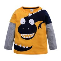 Niños niños manga larga cuello redondo camiseta niños dibujos animados dinosaurio impreso tshirts Moda remiendo jerseys de algodón Sudaderas LY2204