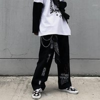 QWeek Mall Goth Брюки Негабаритный Гранж Эстетики Гитические Harajuku Панк Широкие Брюки Ноги Женщин Слейтуру Граффити Женщины Брюки1