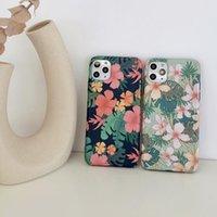 Banana Leaf Phone Case для iPhone 12 11 Pro X XR XS MAX MINI 7 8 PLUS Soft IMD Matte Back Cover Vintage Presided Flower