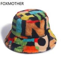 Foxmoother Novo Outdoor Multicolor Arco-íris Faux Pele Carta Padrão Bucket Chapéus Mulheres Inverno Macio Gorros Mujer