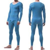 مثير الذكور لونغ جونز الرجال الحرارية الملابس الداخلية الحرير النوم الحرير الصالك ضيق شفافة طويلة الأكمام السراويل السراويل مجموعة 201106