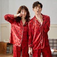 Fzslcyiyi casal pijama conjuntos de seda cetim pijamas sleepwear dele-e-dela casa terno pijama para amante homem mulher amantes 'roupas1