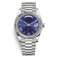 DIESDATE PRESIDENTE Casual Relojes automáticos Hombres Silver Strap Blue Dial Swiss Designer WristWatches Día Fecha 40mm Montre de Luxe