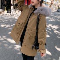 AA ACHOAE зимняя мода твердая парка женщины повседневная шерсть вкладыш с капюшоном толстым теплым покрытием уличные карманы грузовая мягкая куртка 201030