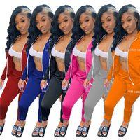 여성 디자이너 Tracksuit 자수 운이 좋은 Lable 문자 지퍼 코트 자켓 및 레깅스 바지 복장 두 조각 의류 세트 G12201