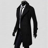 Nuovo cappotto da uomo inverno sottile elegante trincea doppia giacca lunghi petto parka bk / m Casual alta qualità autunno uomo top blusa