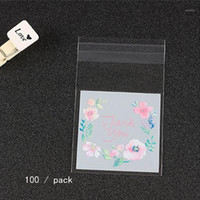 Plastic Packing Bags Flower Pattern Self- adhesive Candy Cook...