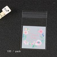 Sacos de embalagem de plástico padrão de flor auto-adesivo doce cookie pacote de embalagem sacos de amostra