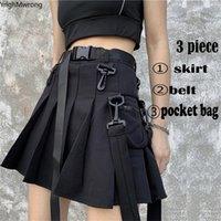 Yüksek Bel Şerit Kemer Fermuar Cep Pileli Mini Kısa Etek Harajuku Streetwear Kore Kadınlar Gotik Kargo Punk Seksi Siyah Set Y200704