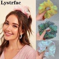 Lystrfac Sweet Clear Malla Scrunchie para las mujeres niñas Banda de goma Headwear Bling Sólido Elástico Pelo Tie Cabello Femenino Accesorios