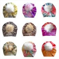 13 colors New Autumn Winter Infant Baby Girl Tie Dye Leopard Hat Fur Ball Turban Headwrap Hats Girls Children Hats Kids Cap