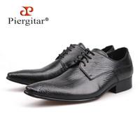 Piergitar 2020 Yeni Hakiki Deri Erkek Elbise Ayakkabı erkek Flats Örgün İş Ayakkabıları Gelinlik Derby Dantel-Up