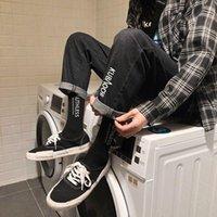 Мужские джинсы Осень Зима Solid Color Letter Печать Regular Plus Velvet Утолщение вскользь небольшие прямые брюки брюки