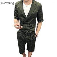 Summer Casual Robe Designer Unique Fit Slim Fit Hommes Cours à double boutonnage 2 PCS Courts Ensembles Blazer Pantalants Vertes Hommes costume avec courroie1