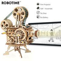 Robotime retro bricolaje manivela cigüeñal proyector modelo de madera kits de construcción montaje de regalo de juguete Vitoscope para niños adulto LJ200928