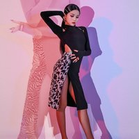 2020 NEUE L9687 Leopard Patchwork Langarm Latin Tanzkleid Frauen Performance Kostüm Latein Ballsaal Kleider Latino Dancewear