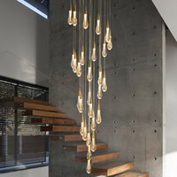 Lampadario a luce cristallina moderna per scale Grande goccia d'oro Design LED Cristal Lamp Long Villa Lobby Hanging Lighting Apparecchio