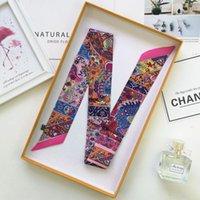 الأوشحة الأزياء الرجعية حقيبة وشاح المرأة الصغيرة الحرير طباعة الفن رئيس مقبض شرائط طويلة a12