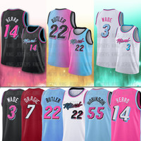 Miami Heat Basketball Jersey 3 Dwyane Wade 22 Jimmy Butler 14 Tyler Herro 13 Bam Adebayo  55 Duncan Robinson