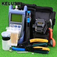Faseroptikausrüstung Kelushi 18pcs / set FTTH Tool Kit mit SKL-6C Kleader Optical Machtzähler 1MW Sichtfehler Locator Stripper