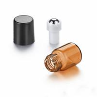 1 ml Mini Rulo Uçucu Yağlar için Rulo Rulo Roll-on Doldurulabilir Parfüm Şişesi Deodorant Kapları Siyah Kapaklı HHA3504