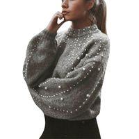 LIBRE DE LA AVESTRUZ el suéter del invierno para las mujeres con cuentas de cuello alto suéter superior femeninas de la manera Outwear la ropa suelta suéter de punto