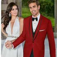 New Red Mens Suits (Jacket+Pants+vest+tie) 3 Pieces Wedding Suits for Men Single Breasted Groom Tuxedos Business Formal men Suit