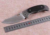 8 inç D2 Çelik Bıçak Bilyalı Rulman Flipper Katlanır Bıçak Saten Finish Blade TC4 Titanyum Alaşım + Karbon Fiber Kolu Bıçakları