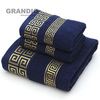 100% Cotton Towel Set Bathroom Geometric Pattern Bath Towel ...