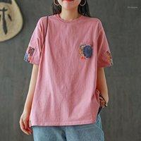 T-shirt das mulheres Johnature Verão Color Sólido Pocketwork Pockets O-pescoço manga curta t - shirts 2021 solta confortável All-Match Women T-shirt1