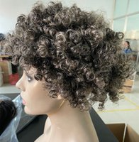 Custom gray human hair wig glueless short two tone mixed silver grey soft salt and pepper afro kinky curly non lace wigsd diva1