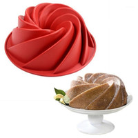 Stor Spiral Form Grade Silicone Bundt Cake Mögel Pan 3d Flydig Kaka Mögel Form Bröd Baker Bakverk Verktyg Bakeware1