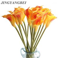 Guirnaldas de flores decorativas grandes 67 cm HQ REAL TOUCH TOUCH CALLA LILY PU ACCESORIOS DE Decoración de la fiesta falsa de la boda