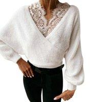 Suéter das mulheres qinjoyer mulheres elegante camisola sólida lace up básico top em v pullover para inverno quente manga longa senhoras casuais