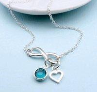 Персонализированная бесконечность любовных ожерелья ожерелья в день матери невесты день рождения бабушка начальная подвеска с рождаемостью