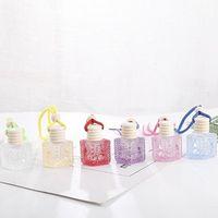 Botella de perfume del coche colorido colgante esencial difusor de aceites Adornos ambientador de aire colgante del perfume botella de cristal vacía IIA793