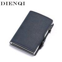 Dienqi Anti RFID Titulaire de la carte de crédit Hommes Slipper Titulaire de la carte d'identité en cuir Porte-cartes en métal en métal POPWallet LJ200907