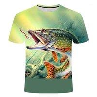 여름 최신 2020 년 물고기 야외 티셔츠 맨 3D 쿨 인쇄 낚시 남자 짧은 탑 0collar 캐주얼 남자 낚시 티셔츠 poissons1